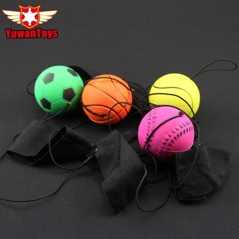 Fun 63mm Fidget Autism ADHD Bouncy Fluorescent Rubber Ball Wrist Band Ball Board Game Funny Elastic Ball Training Antistress