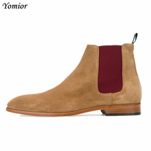 купить Handmade Vintage Genuine Leather Fashion Men Casual Shoes Pointed Toe High Quality Male Chelsea Boots Dress Ankle Boots дешево
