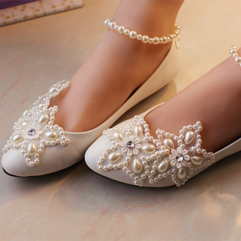 Ladies White Lace Flat Wedding Shoes For Womens Girls