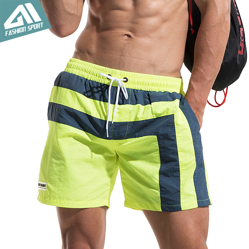 Desmiit Fast Dry Men's Board Shorts Summer Striped Beach Surfing Man Swimming Shorts Athletic Sport Running Gym Shorts AM2034
