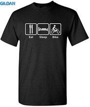 T Shirt 2017 Summer 100% Cotton The New Fashion MenS Crew Neck Short Design Shirts  Eat Sleep Bikes Letter