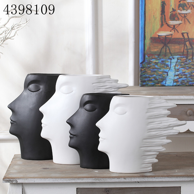 Nordic style abstract and simple black and white porcelain head model vase art vase decorative vase