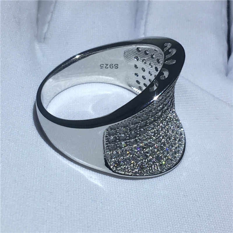 Choucong хип-хоп рок палец кольцо 925 пробы серебро Проложить установка AAAAA cz вечерние кольца для мужчин и женщин Свадебные украшения