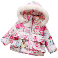 Cotton girls warm jacket floral winter baby kids children outwear infant girl winter coat navy blue pink hooded 2016
