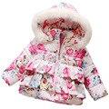 Floral jaqueta de algodão meninas quentes de inverno do bebê das crianças dos miúdos outwear casaco infantil inverno da menina rosa azul marinho com capuz 2016