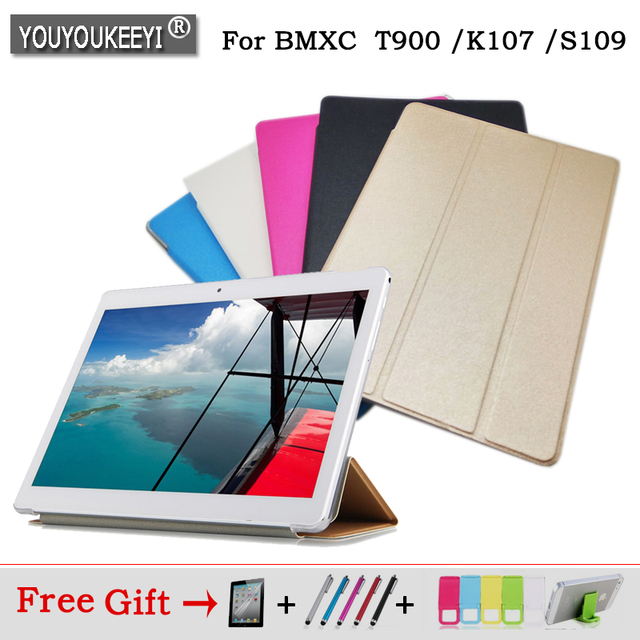 Ultra Slim PU case stand cover for BMXC T900 K107 S109 10.1inch 3G /4G Call phone tablet pc 5 colors Freeshipping+3 gift