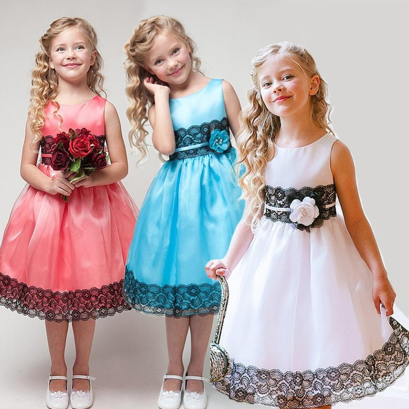 Girls Silk Princess Party Dress Summer Baby Girl Lace Dresses With Bow Belt Kid Girls Evening Dresses high quality girls baby hollow out bud silk condole belt dress princess party dresses children s clothing wholesale