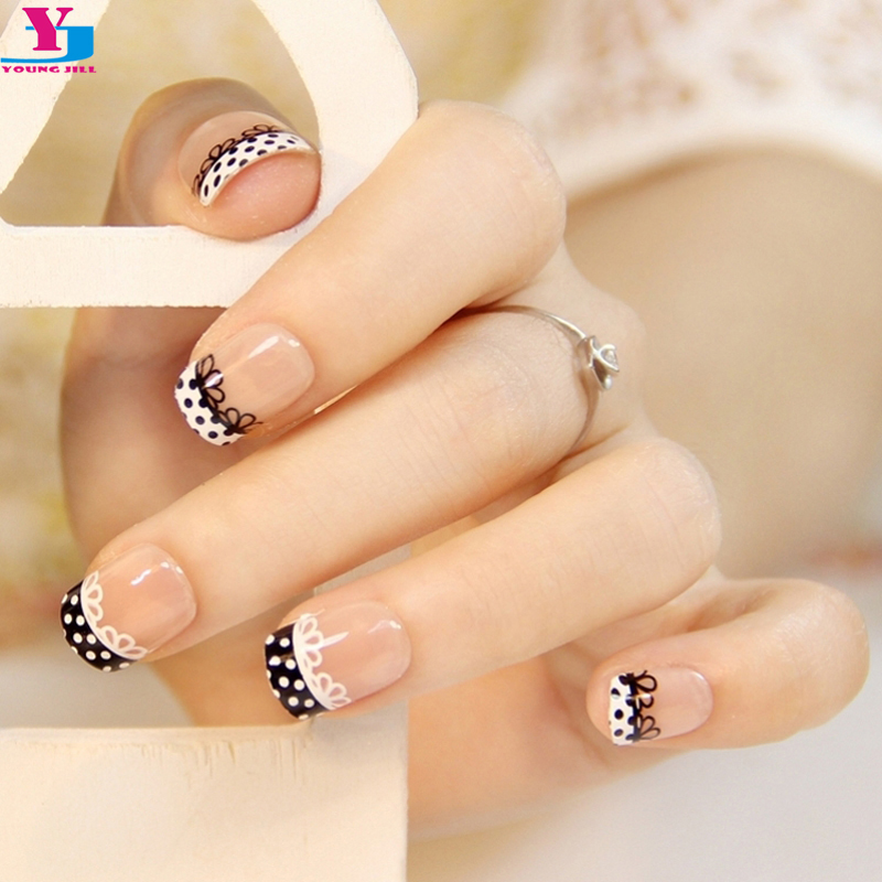 Fashion Lace Design Fake Nails French Short Square Faux Ongles Nail Art Tips Makeup Set Acrylic False Nails Artificial Manicure snap button jewelry
