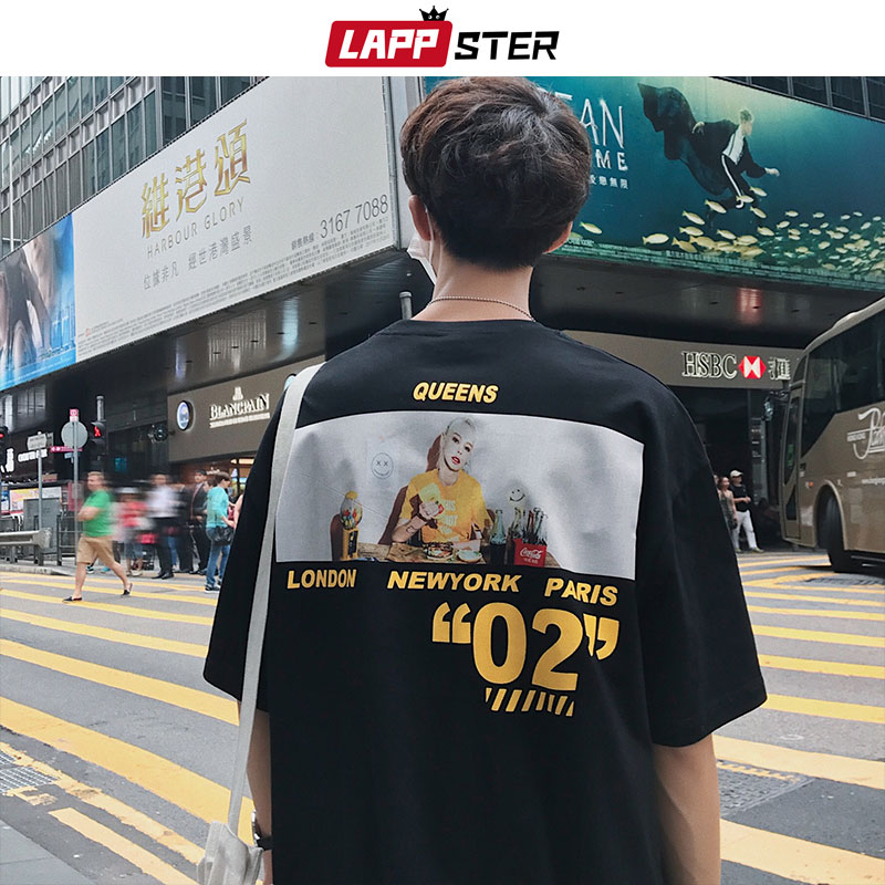 LAPPSTER Men Casual Print Tshirts Streetwear Summer 2020 Mens Harajuku Casual T Shirt Male High Quality Korean Skateboard Tshirt
