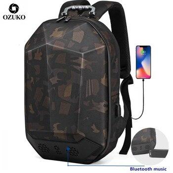 OZUKO Backpack Men 15.6 Laptop Waterproof Teenager Schoolbag Multifunction Male Travel Mochila USB Bluetooth Backpacks Fashion