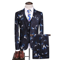 Men Wedding Groom Suits 2018 High Quality Male Printed Designer Prom Suits 3 Pieces Flower Jacket