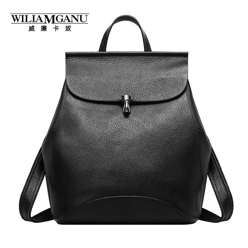 ФОТО WILIAMGANU brand 2017 New Women's Genuine Leather Travel bags high quality backpack Fashion Genuine Leather Ladies backpack