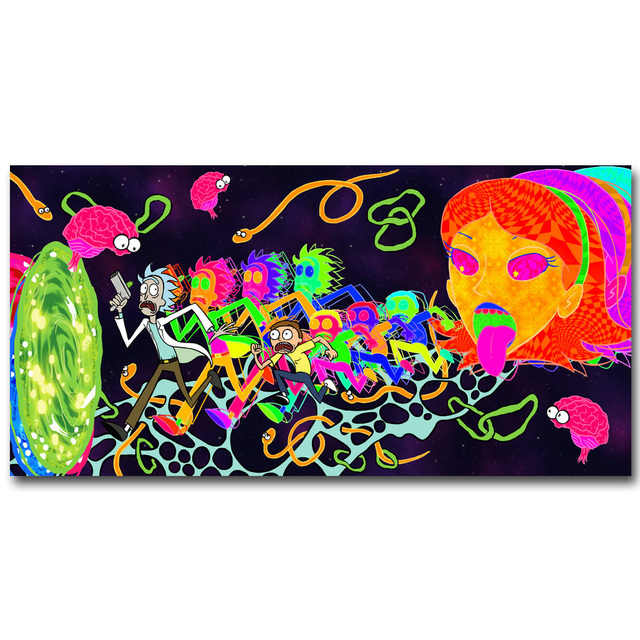 Rick and Morty Anime Art Silk Fabric Poster Print 13×26 inch Cartoon Trippy Picture for Living Room Wall Decoration Gift 032