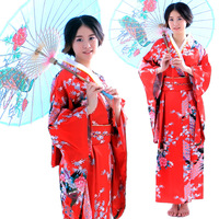 2017 new Traditional Japanese Kimono Women Yukata with Obi Performance Dance National Costumes female Satin Kimono cospaly Dress