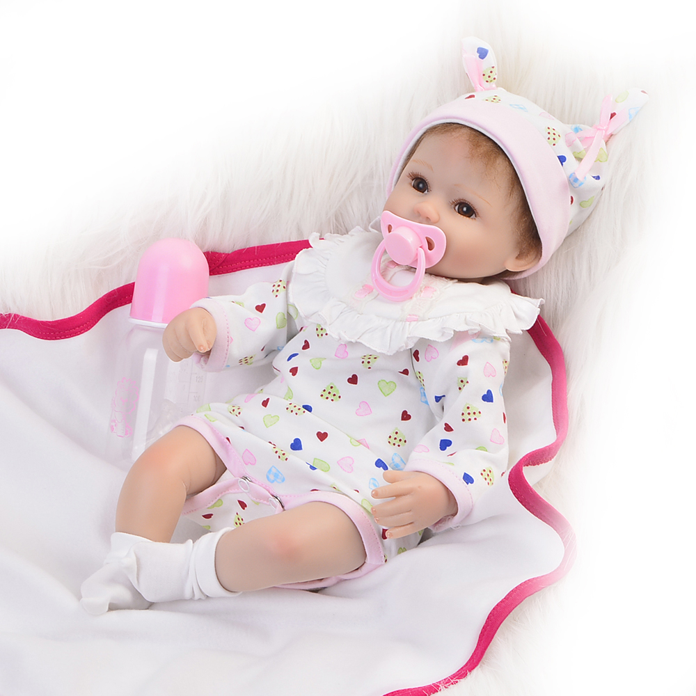Hot Sale 17inch Reborn Baby Dolls Lifelike Girl Newborn Baby Doll With Lovely floral dress looks real baby lovely girl Xmas free shipping hot sale real silicon baby dolls 55cm 22inch npk brand lifelike lovely reborn dolls babies toys for children gift