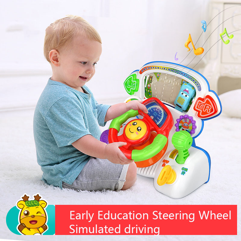 Baby Kids Driving Game Simulation Steering Wheel Lights Toy Children's Musical Early Educational Toys Toddler Xmas Gift