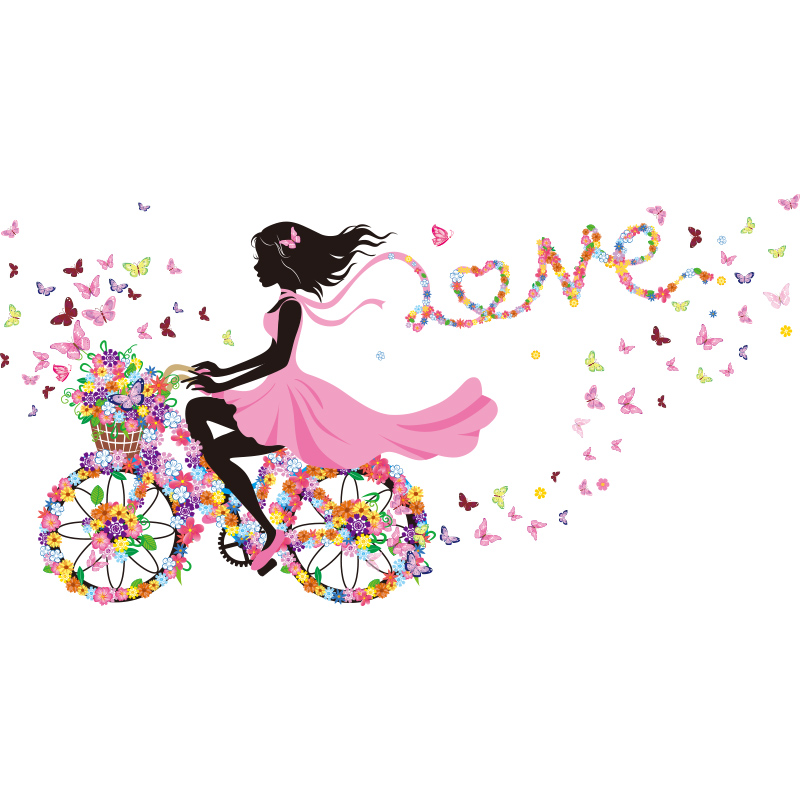 Fairy Girl Wall Stickers Vinyl DIY Colorful Butterflies Bicycle Mural Art for Kids Rooms Kindergarten Decoration in Wall Stickers from Home Garden