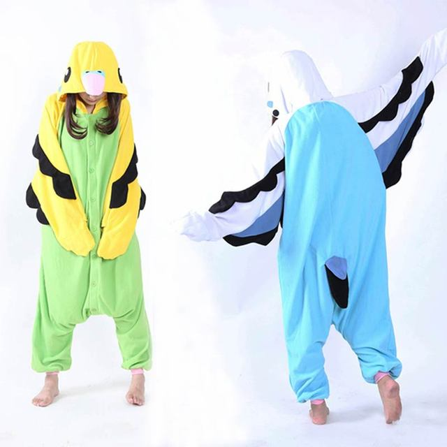 Erwachsene Unisex Fleece Tier Papagei Onesies Neuheit Pyjamas Pyjamas Nachtwäsche Overall Karneval Kostüme Kigurumi