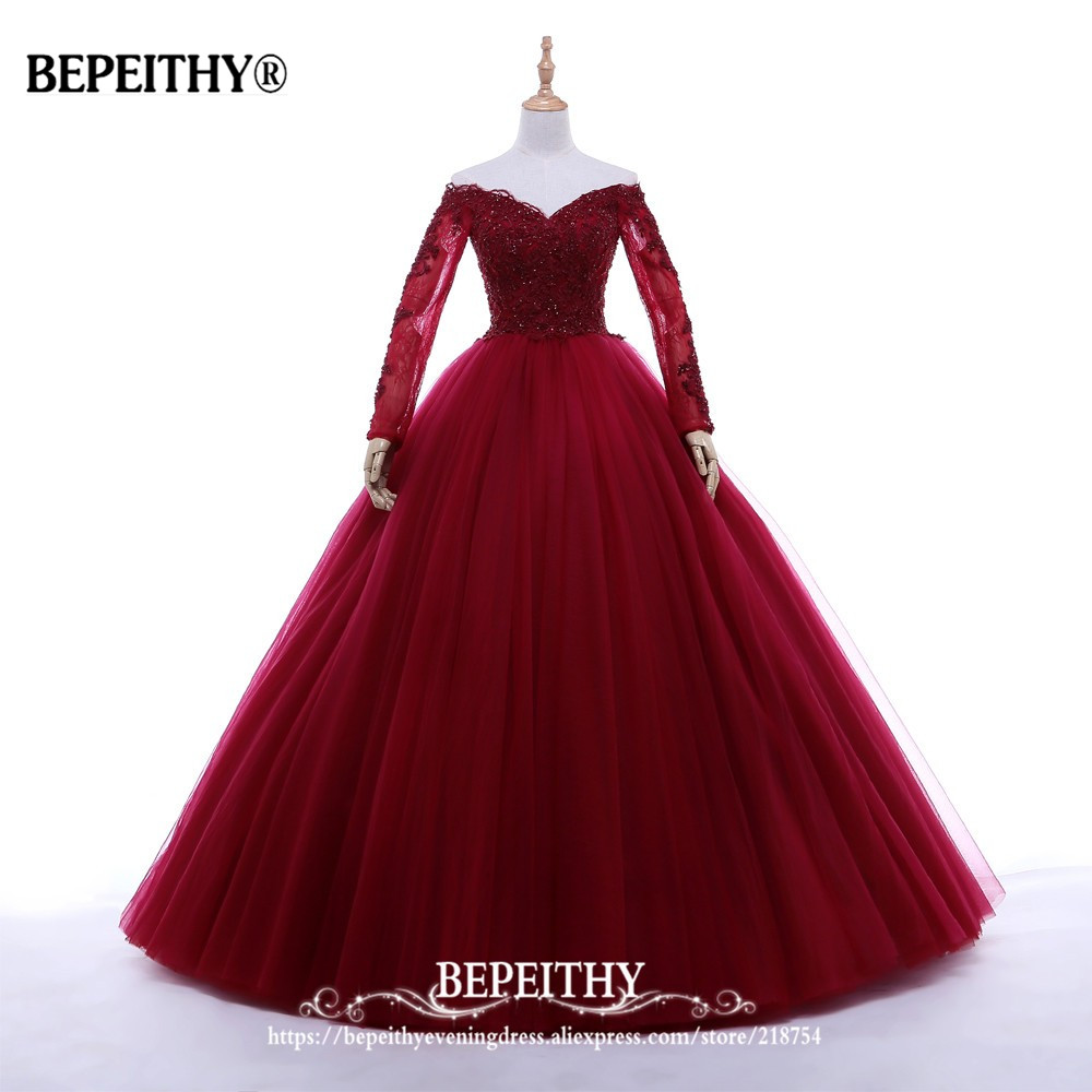 New Arrival Ball Gown V-neck Long Evening Dress Party Elegant Vestido De Festa Full Sleeves Prom Gowns 2019 (China)
