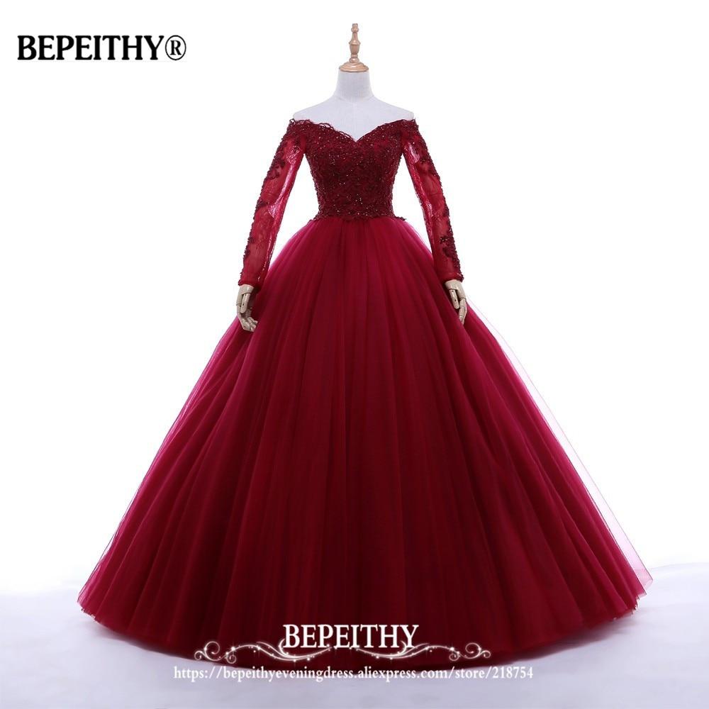 New Arrival Ball Gown V-neck Long Evening Dress Party Elegant Vestido De Festa Full Sleeves Prom Gowns 2019