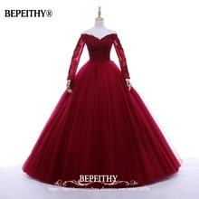 New Arrival Ball Gown V neck Long Evening Dress Party Elegant Vestido De Festa Full Sleeves Prom Gowns 2020