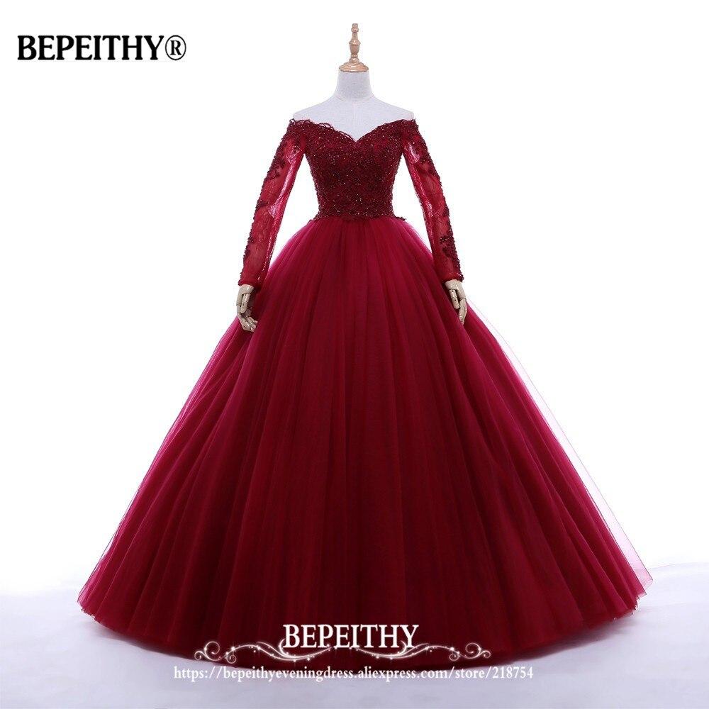 Nouveauté robe De bal col en v longue robe De soirée partie élégante Vestido De Festa manches longues robes De bal 2019