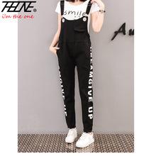 THHONE Black Denim Overalls Women Jumpsuit Suspender Jeans Letter Rompers Denim Playsuits Body Feminino Plus Size