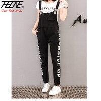 THHONE Black Denim Overalls Women Jumpsuit Suspender Jeans Letter Rompers Denim Playsuits Body Feminino Plus Size Bodysuits