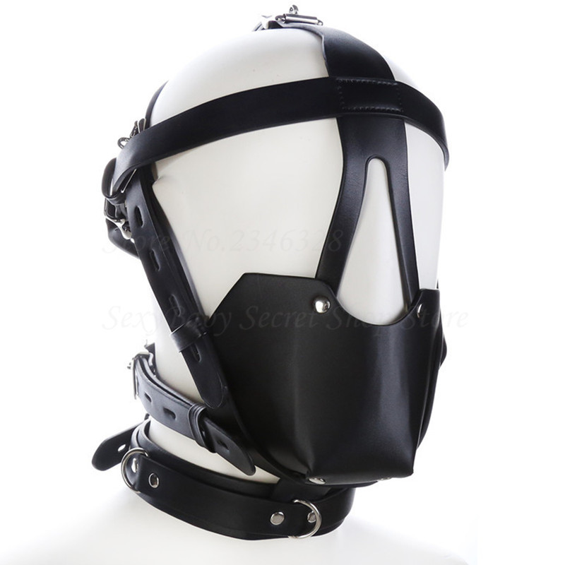 New PU Leather Head Harness Mouth Mask With Ball Mouth Gag Fetish Salve BDSM Bondage Restraint Sex Products For Couples