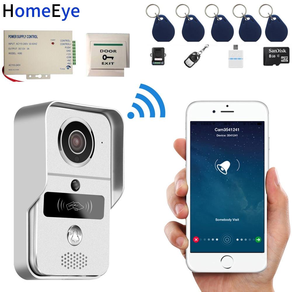 720P Wireless Video Intercom IP Wifi Door Phone Smart Doorbell Remote Unlock Waterproof Motion Detection PIR RFID Card 8G Card