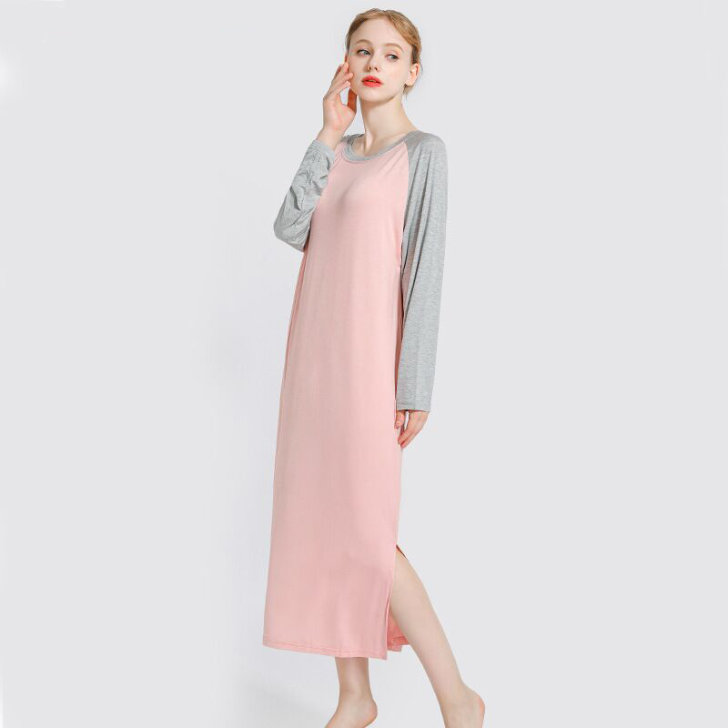 Plus Size Sleep Wear Women Night Dress Stitching Nightwear Female Loose Elastic   Nightgown   Long   Sleepshirts   Women Nightshirt 90KG
