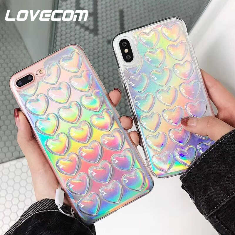 LOVECOM Gradient Iridescent 3D Love Sequin Phone Case For iPhone XR X XS Max 8 7 6 6S Plus 5 5S SE Phone Protector Soft Cover