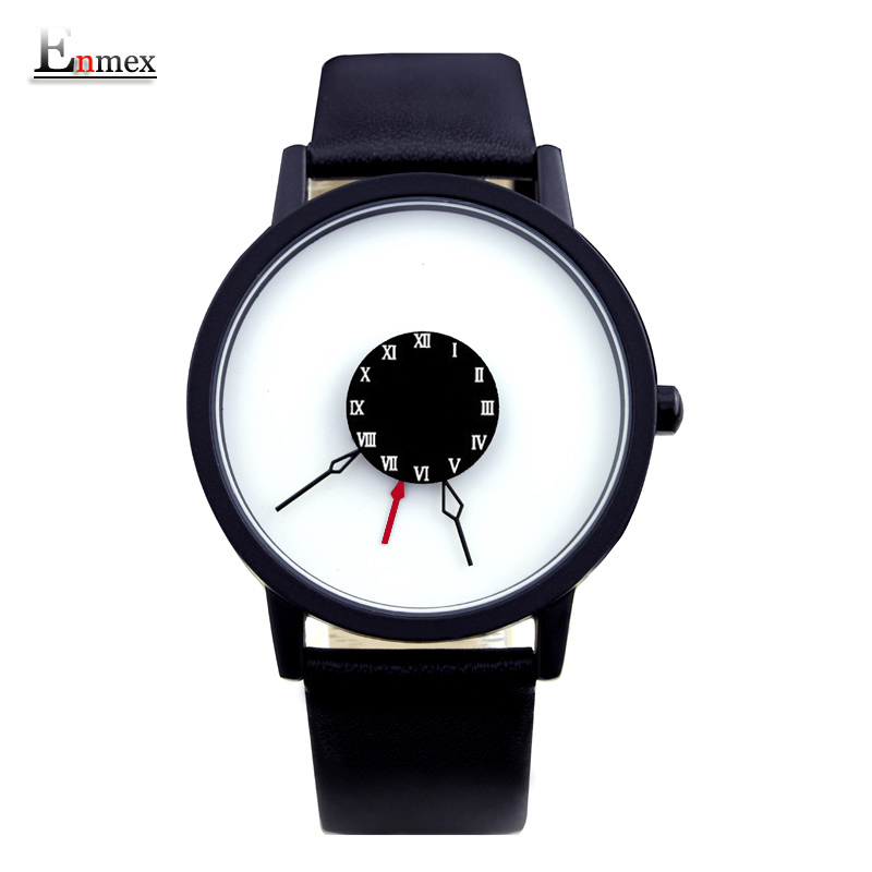 2016 men gift Enmex brief design creative Upside down hand unique design for young fashion unique quartz watches 2017 new gift enmex hit color steel frabic strap creative dial changing patterns simple fashion for young peoples quartz watches
