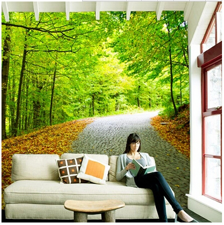 Aliexpress.com : Buy Large TV Sofa Background 3D Wallpaper Mural Wall  Painting Maple Leaf Environmental Green Nature Trail From Reliable Painting  With Hot ... Part 25