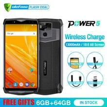 Ulefone Power 5 13000 mAh 4G Smartphone 6,0 «FHD MTK6763 Octa Core Android 8,1 6 GB + 64 GB 21MP de carga inalámbrico Fingprint Face ID