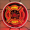 Neon Sign Glass Tube Large Fire Department Neon Sign 5FIRED Usa Firefighters Wall Art Light Signs