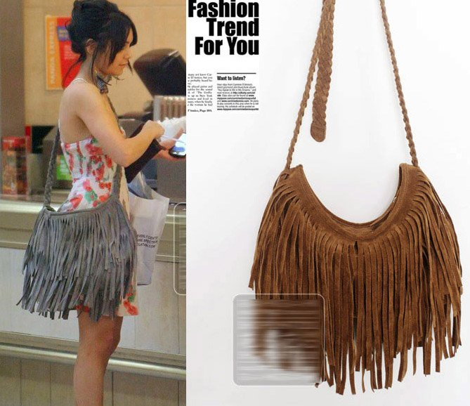 HOT Brown Faux Suede leather Fringe Tassel Shoulder Bag Womens Handbag Cross -body bags Messenger Bags Free shipping 1abbb22755