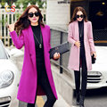 Women Slim Fit Woolen Coat Spring Autumn Long Windbreaker Lady Overcoat with Longline lapel collar