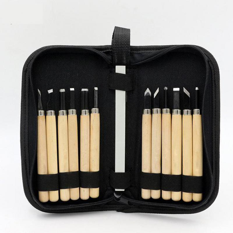 8/12 Pcs/set Woodcut Knife Handmade Wood Carving Utility Knife Rubber Carving Set Wood Carving Tool Set