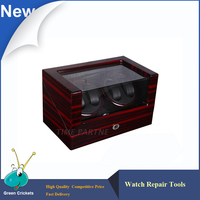 4 0 Grainy Glossy Suface Black PU Inside 4 Channel Automatic Watch Winder Multi Function 5