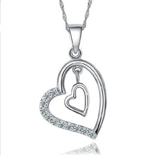 TJP Trendy 925 Silver Clavicle Necklace For Women Jewelry Charm Double Heart Pendant Girls Zircon Bijou Birthday Gift