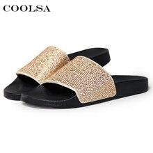 купить Hot Summer Women Diamond Slippers PU Bling Rhinestone Slides Flat Indoor Flip Flops Female Fashion Crystal Casual Beach Sandals по цене 534.57 рублей