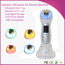 Home Use Portable 3MHZ Ultrasound Galvanic Therapy Skin Tightening Ion Photon EMS Facial Beauty Device
