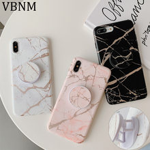 Luxury Gold Strip Crack Marble Holder Phone Case For iPhone 11 Pro Max 12 Mini XR X XS 7 8 Plus SE 2020 Soft Silicon Stand Cover