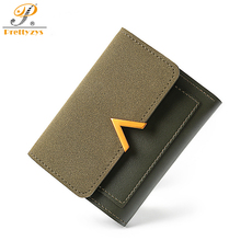 Prettyzys Women Wallet Female Slim Patchwork Leather Coin Card Holder Short Purses Small Scrub Mini V Chareter Letter Money Bag