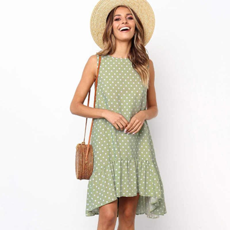 Повседневный стиль, без рукавов, в горошек, свободные платья для женщин, летнее, размера плюс, с оборками, с принтом, Пляжное платье, Boho Robe Femme Vestidos