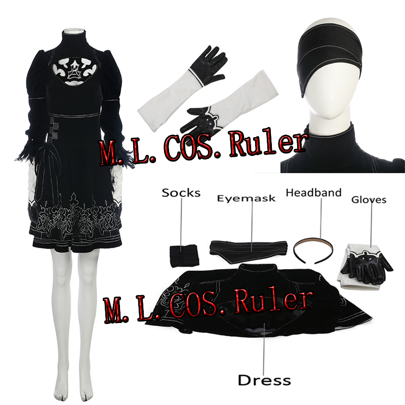 New Type NieR Automata YoRHa No 2 Type B Cosplay Costume Custom Made Game COS For Halloween Any Size Dress Gloves Mask Headband