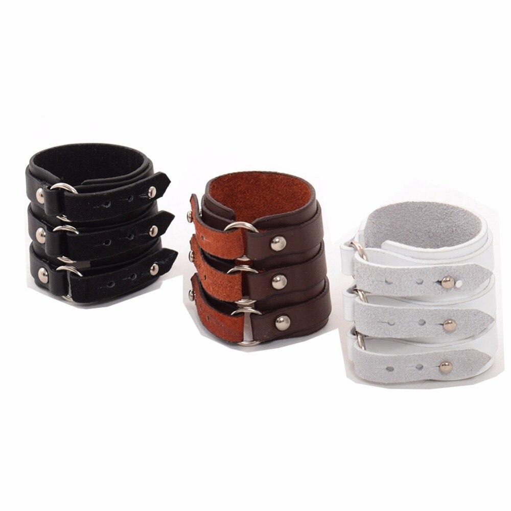 Punk Wristband Unisex Women Men White/Brown/Black Charm Single Genuine Leather Rock Wide Bracelet
