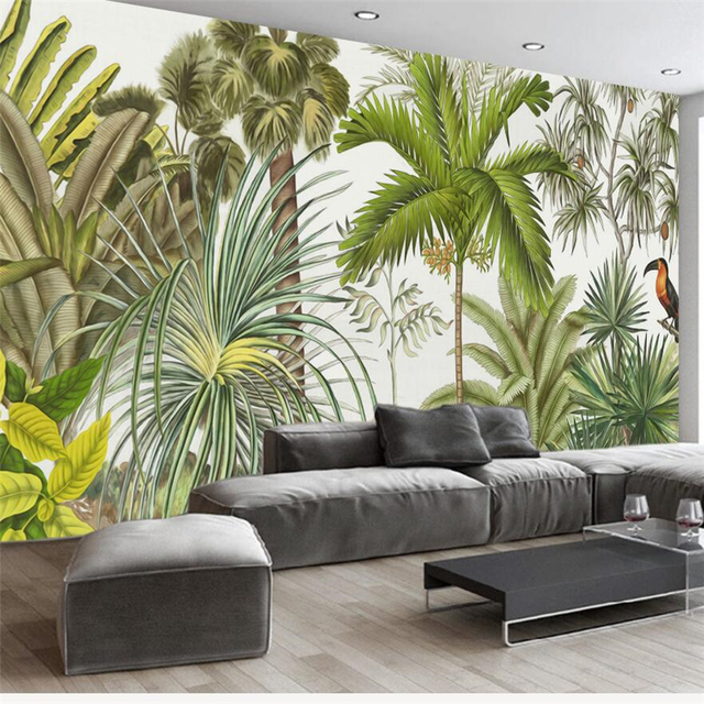 Beibehang Papel Parede Custom Wallpaper European Retro Tropical Rainforest Living Room Backdrop Wall Papers Home Decor Tapety