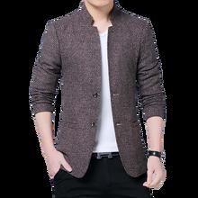 где купить Men's Suit Jacket Chinese Style Fashion Stand Collar Slim Long Sleeve High Quality Plus size Asian Size M-5XL blazer 2019 New по лучшей цене